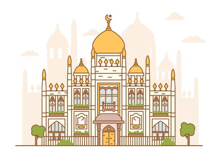 Vector illustration of Singapore sultan mosque. Arab architecture, religious building. Domes, minaret, towers, crescent with a star. Islamic faith. Picture of a national landmark, tourism, travel. Ilustrace