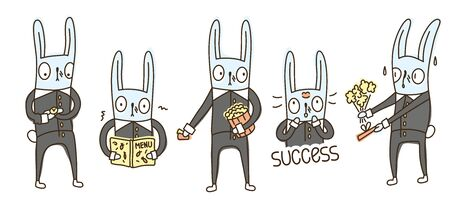 Isolated vector character rabbit in formal suit on a first date. Romantic meeting, first love, stress, excitement. 向量圖像