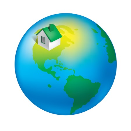 earth globe house icon continents ecology