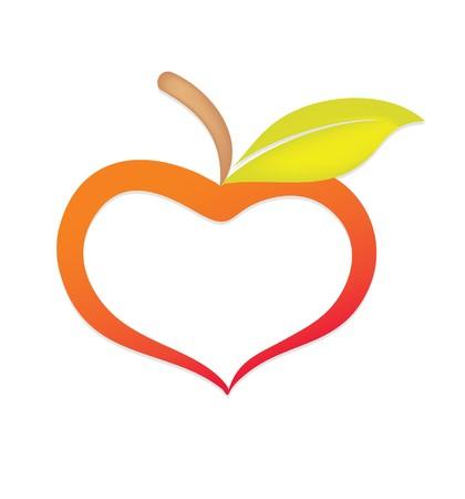manzana: Apple similar al corazón del amor manzana estilizado  Foto de archivo