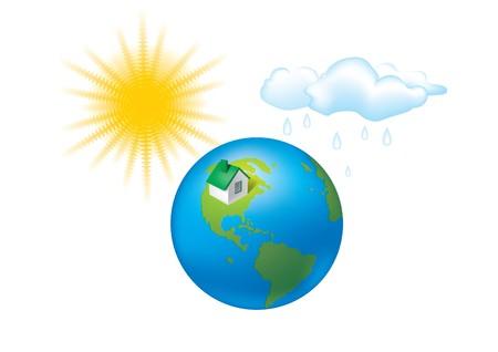 earth climate sun globe house weather