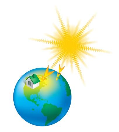 sunstroke: heat earth climate sun globe  weather Stock Photo