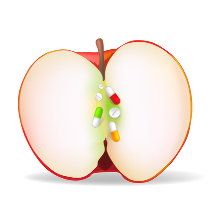 The apple with sunflower seeds tablets Illustration