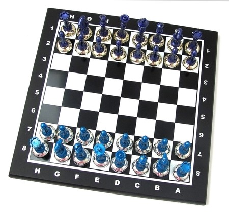 chess board on a white background separately photo
