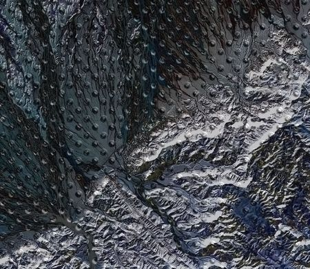 cribriform: Metal structure stone structure background abstract industrial