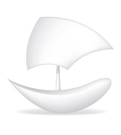Ship from a paper vector illustration boat Illustration
