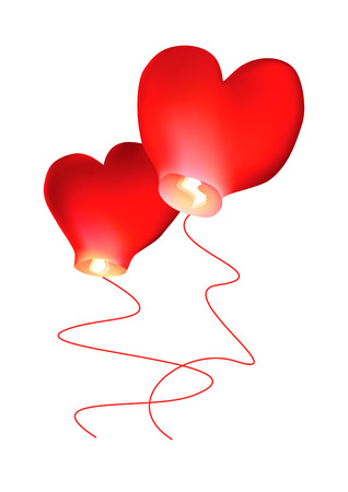 Air small lamps of heart romanticist fire vector