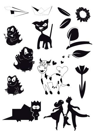 silhouette vector decor illustrations collection cartoon ornate Vector