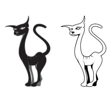 Black and white cat a silhouette drawing Illustration