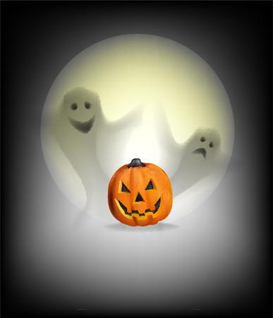 Ghosts pumpkin moon halloween october illustration night