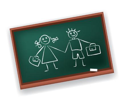 Commission scolaire avec des dessins du garçon et la fille