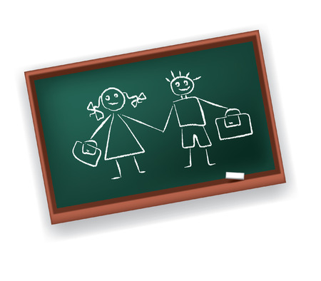 School board with drawings of the boy and the girl Stock Vector - 7725917