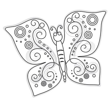 tekening vlinder: De vlinder patroon ontwerp afbeelding tekenen  Stock Illustratie