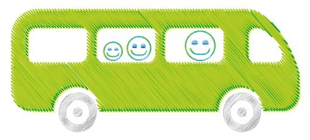 The bus drawing green illustration kid school Stock Illustration - 7848894