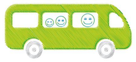 The bus drawing green illustration kid school Stock Photo