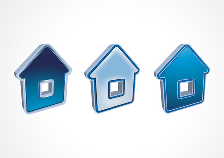 pictogramme: Three dark blue icons houses