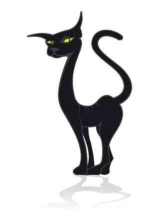 Drawing of a black cat with yellow eyes