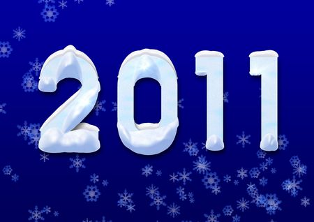 new year 2011 in the snow winter