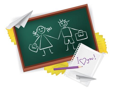 set of school subjects expressing love school