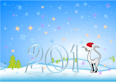 cat in the hat on Santas New Years background Vector