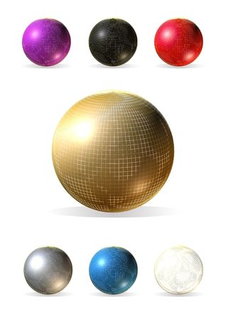 3d colorful balls into golden grid on a white background Stock Photo