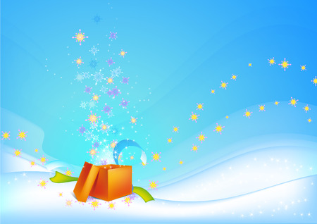 New Years holiday gift of an orange background with snowflakes and stars Illustration