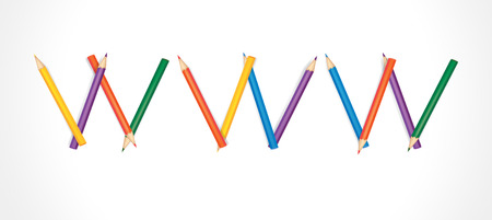 WWW composed of colored pencils on white background