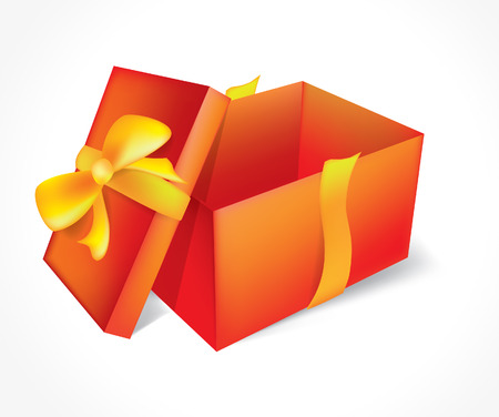 Open red gift with a bow on a white background Illustration