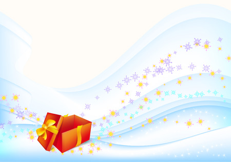 New Year's holiday gift of an orange background with snowflakes and stars Stock Vector - 8349133