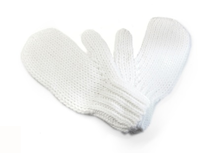 White knit gloves with a white background