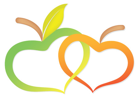 outline wedding: two apples due to heart twisted together