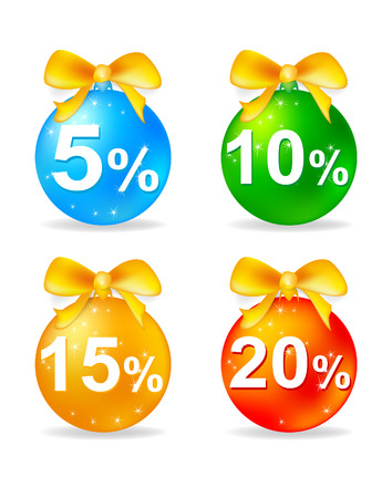 Christmas balls discount on a white background vector