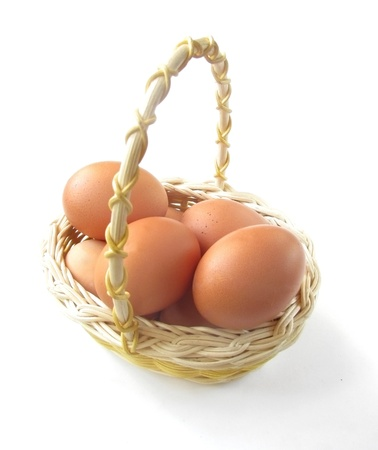 Eggs in a basket on a white background photo