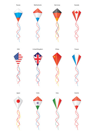flags, kite flying, a set of flags Vector