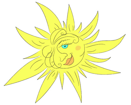 stylized hand-drawn sun vector Illustration