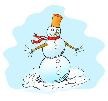 Snowman freehand vector Illustration