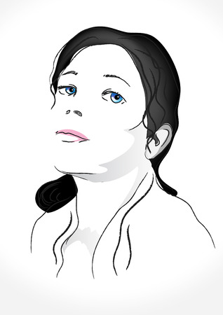sexy young girls: portrait of a girl freehand vector Illustration
