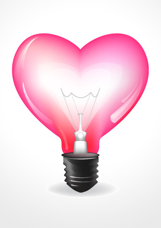 light due to heart bulb Illustration