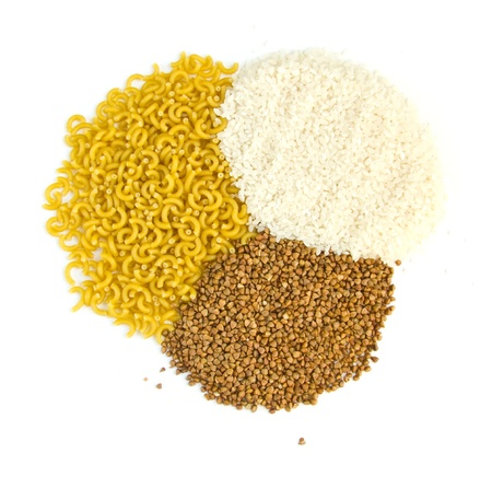 buckwheat groats and rice, pasta on a white background