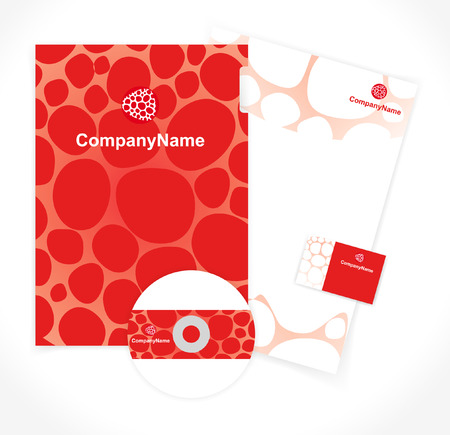 pattern of corporate identity in the red and white colors