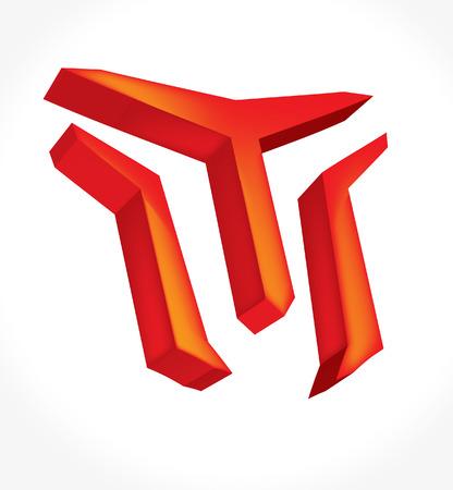 Red volumetric logo 3d Illustration
