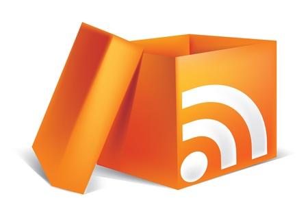 Paper open the orange box icon rss