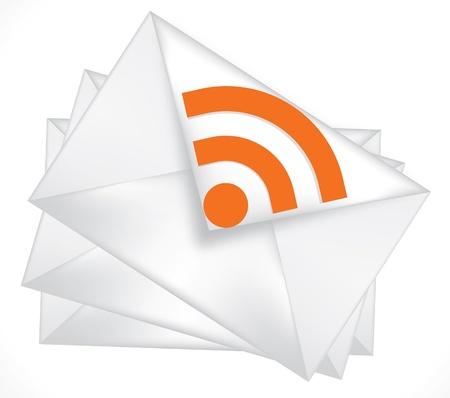 white envelope, icon rss