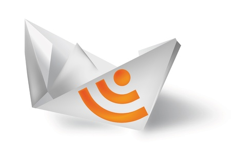 paper boat, rss icon