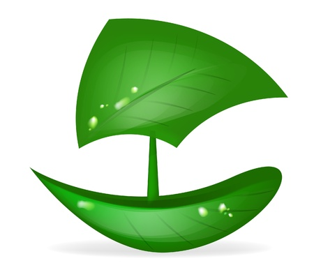 green leaf boat - eco friendly transportation Stock Vector - 9469070
