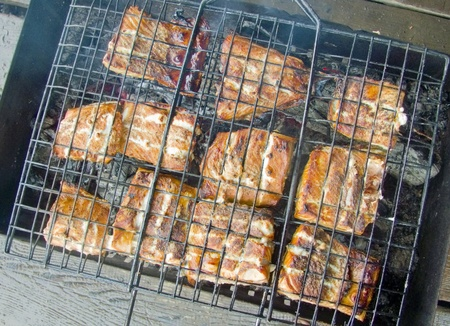 skewers, grilled pieces of fish on the grill
