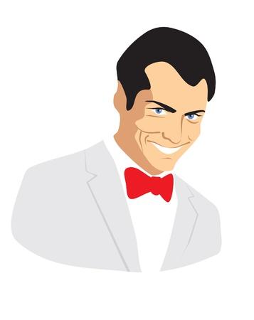drawing male portrait gentleman, looking, smile