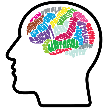 Vector for word in the form Brain with color
