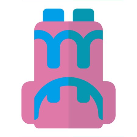 BACKPACK icon flat style pink blue