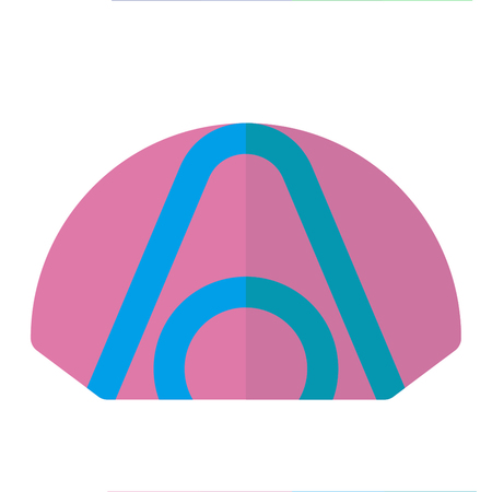 Tent icon flat style pink blue Illustration